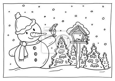 Ausmalbild Winter Leinwandbilder Bilder Winterlandschaft Voliere