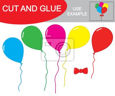 Ausschneiden und kleben, um ein bild von ballons zu erstellen ...