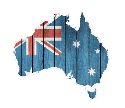 Bild Australisch Karte mit Holz Flag