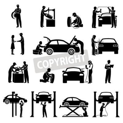 Bild Auto-Service-Symbole schwarz mit Mechanik und Autos Silhouetten isoliert Vektor-Illustration