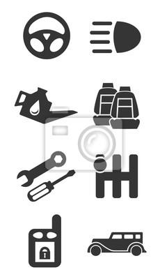 Auto teile-icon-set teil zwei leinwandbilder • bilder Getriebe ...