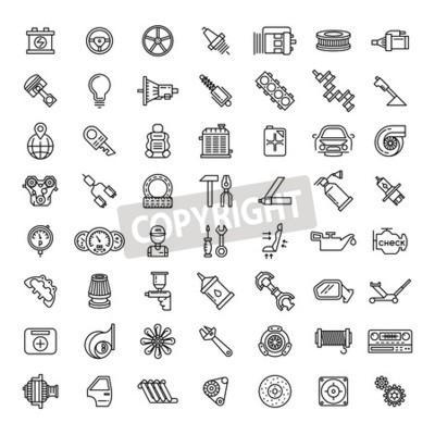 Bild Auto Teile Linie Icons Set. Selbstservice-Reparatursymbol, Gangmotor, Schlüssel und Filter, Vektorillustration