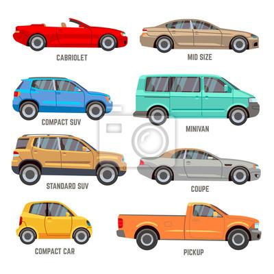 Bild Auto-Typen Vektor flachen Icons. Automotive-Modell Symbole gesetzt