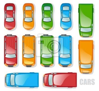 Autos und Minibusse - die Ansicht von oben