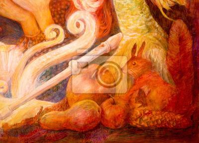 Autumn fairy tale scene, beautiful fantasy colorful painting
