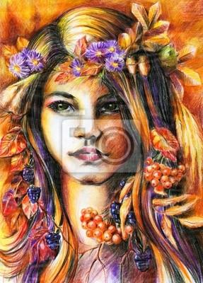 Autumn girl - Buntstiften.