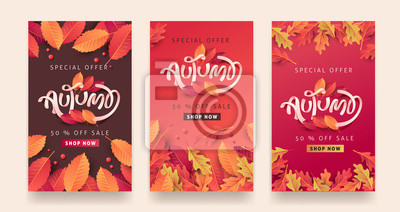 Bild Autumn sale background layout decorate with leaves for shopping sale or promo poster and frame leaflet or web banner.Vector illustration template.