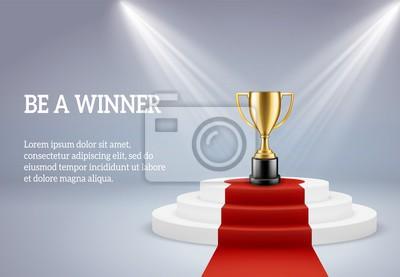 Bild Award podium with trophy. Rewarding round stage for winner of sport or business compitetion in lights vector 3d image