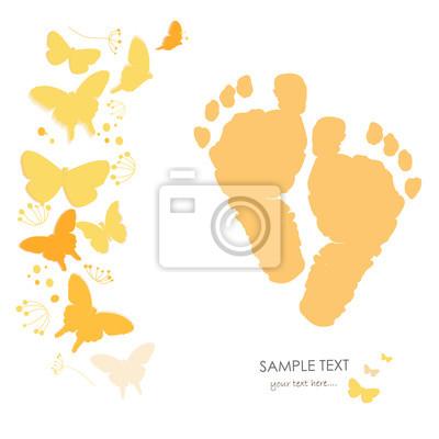 Baby Fussabdrucke Mit Schmetterling Neugeborenes Baby Grusskarte