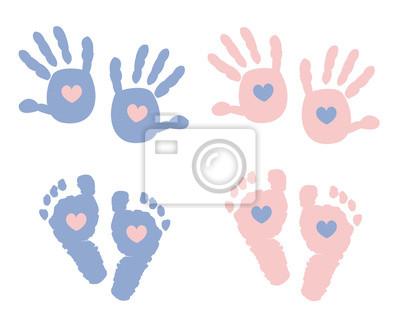 Baby Fussdrucke Mit Herz Babyparty Grusskarte Leinwandbilder Bilder