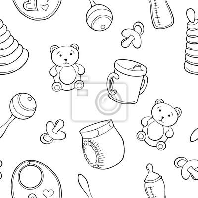 Baby Grafik Schwarz Weiß Skizze Nahtlose Muster Illustration