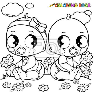 Babys Spielen Draußen Schwarz Weiß Malbuch Seite Leinwandbilder