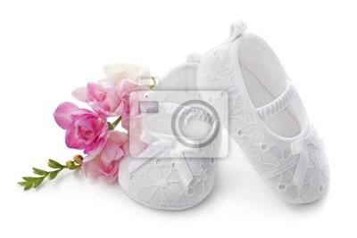 Babyschuhe Mit Rosa Blüten Auf Weißem Hintergrund