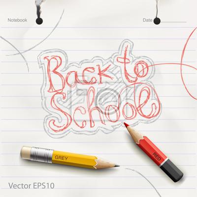 """""""Back to school"""" handschriftlich in Notebooks. VektorEps10 Bild"""