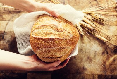 Bild Bäcker hält einen Laib Brot auf rustikalen Bacgkround