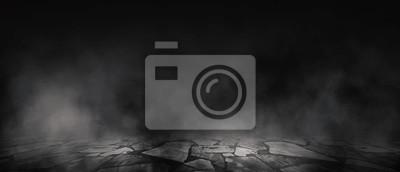 Bild Background of empty room, street, neon light, smoke, fog, asphalt, concrete floor