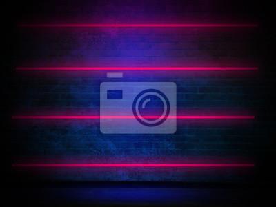 Bild Backsteinmauer, Hintergrund, Neonlicht
