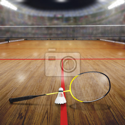 Badminton-Gericht mit Federball auf Holzboden und Textfreiraum