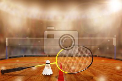 Badminton-Schläger und Federball in der Arena mit Textfreiraum