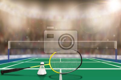Badminton-Schläger und Shuttlecock in Arena mit Textfreiraum