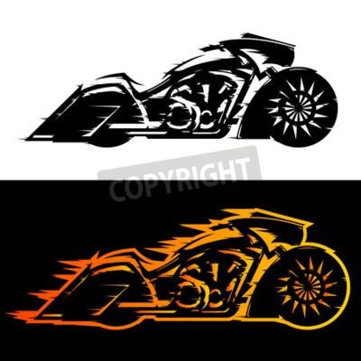 Bild Bagger-Stil Motorrad Vektor-Illustration, Baggers benutzerdefinierte Motorrad in Flammen bedeckt