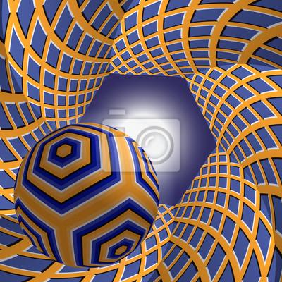 Ball fliegen, um die Sonne durch einen sechseckigen Tunnel. Zusammenfassung Vektor-Illustration mit optischer Täuschung der Bewegung.