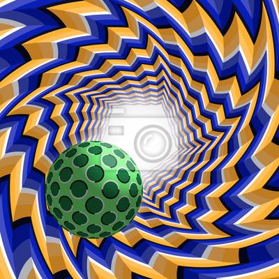 Ball fliegen, um Licht durch einen fünfeckigen Tunnel. Zusammenfassung Vektor-Illustration mit optischer Täuschung der Bewegung.
