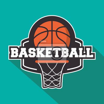Ball und Korb-Symbol. Basketball-Sport Hobby und Wettbewerb Thema. Buntes Design. Abbildung