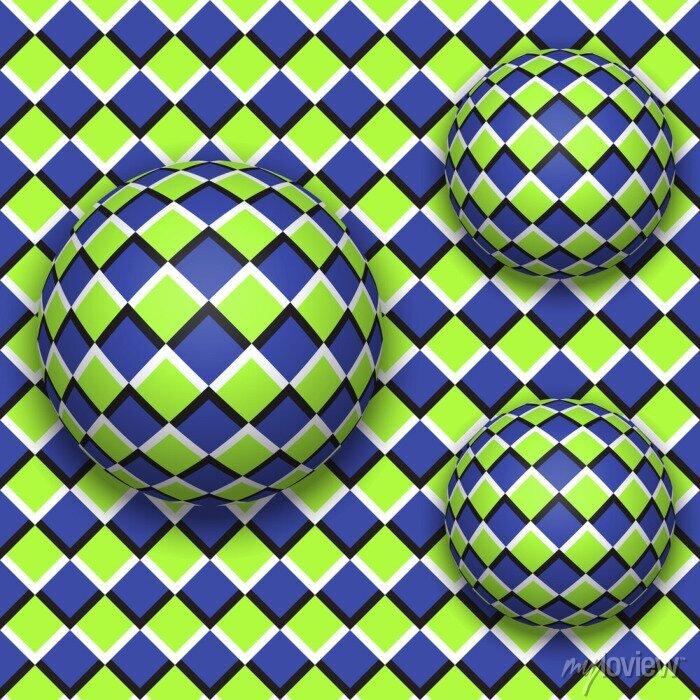 Bild Bälle rollen herunter. Abstract vector nahtlose Muster mit optischer Täuschung der Bewegung.