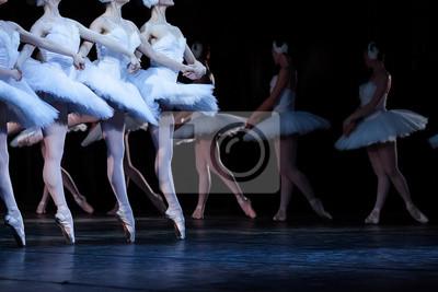 Ballett, Kunst, Tradition Konzept. vier junge kaukasischen Mädchen tragen Kleider verziert mit Federn tanzen bekannte Teil des Ballett Schwan See, la danse des petite cygnes