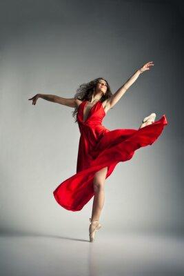 Bild Ballett-Tänzerin mit rotem Kleid über grau