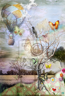 Ballon mit CROW, Butterflyes UND BÄUME