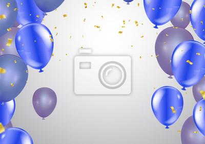 Bild Ballons, Vektor-Illustration. Konfetti und Bänder, Feierhintergrundschablone mit.