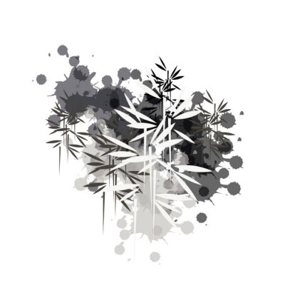 Bild bamboo forest illustration in black ink