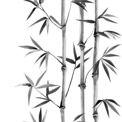 Bild Bamboo Seamless Vertical Border on white background
