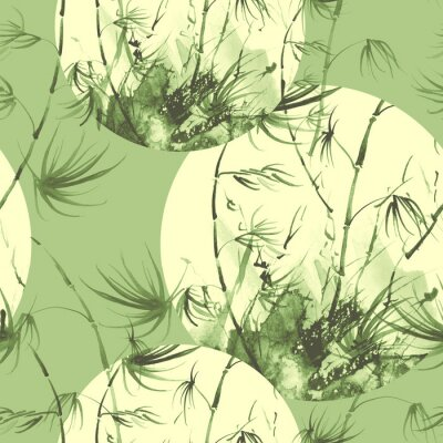 Bild Bamboo watercolor stems and leaves seamless pattern. painting of bamboo forest on textured paper. Decorative watercolor bamboo, jungle, thickets. silhouette branches, tropics