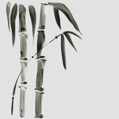 Bild Bambus in der japanischen Malstil. Traditionelle schöne gezeichnete Illustration des Aquarells Hand