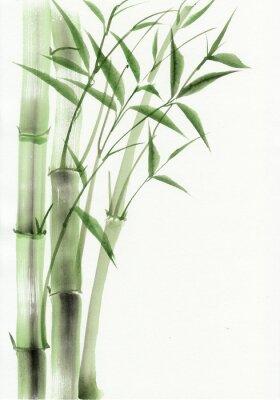 Bild Bambus ursprüngliche Aquarellmalerei. Asiatischen Stil.