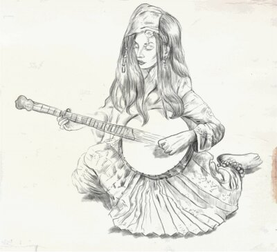 Bild Banjo-Spieler - Vektor-Illustration (umgerechnet)