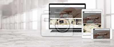 Bild Banner of multi device technology for responsive web design - laptop , digital tablet and smartphone in various orientation at the office (sample web page).