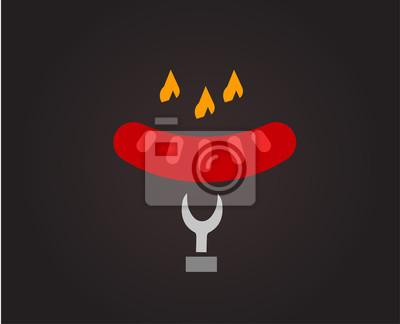 Barbecue und lebensmittel vector logo. outdoor, küche oder fleisch ...