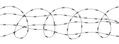 Bild Barbed Wire Isolated on White. Wired border of prison or war zone.