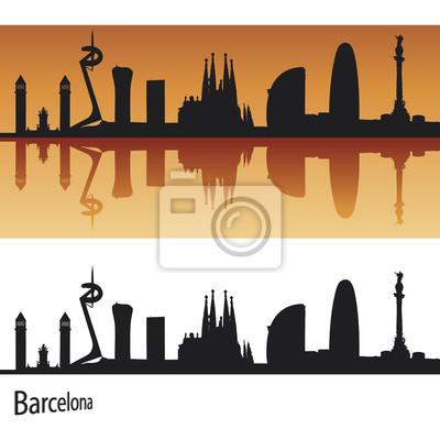 Bild Barcelona Skyline in orangefarbenen Hintergrund