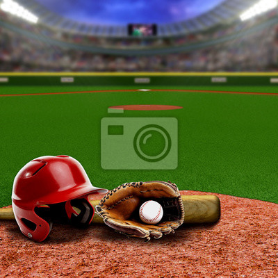 Baseball-Stadion Mit Ausrüstung und Textfreiraum