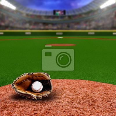 Baseball-Stadion mit Handschuh und Ball mit Kopie Raum