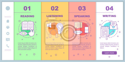 Bild Basic language skills onboarding mobile web pages vector templat