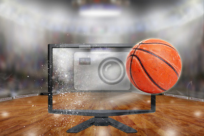 Baskeball Flying Out of TV Screen in Arena