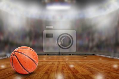 Basketball-Arena mit Ball am Platz und Textfreiraum