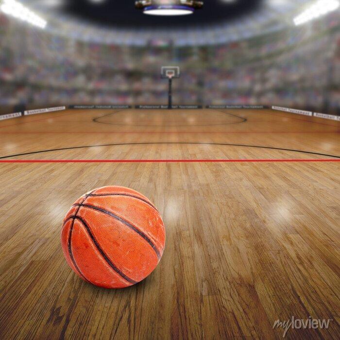 Bild Basketball-Arena Mit Ball auf Gericht und Textfreiraum. Übertragen in Photoshop.