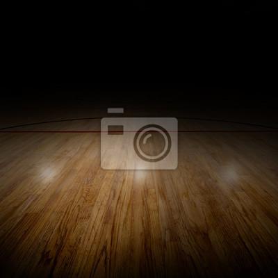 Basketball-Arena mit besonderer Beleuchtung und Textfreiraum